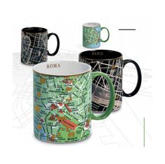 City Map Mugs- I would love one for every city I've been to!
