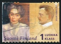 FINLAND - CIRCA 2004: stamp printed by Finland, shows Composer Jean Sibelius and his wife Aino Sibelius and, circa 2004