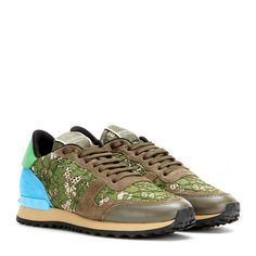 Valentino - Rockrunner lace and suede sneakers - mytheresa.com