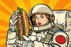 Buy Hungry Woman Astronaut with Shawarma Kebab by studiostoks on GraphicRiver. Hungry woman astronaut with Shawarma kebab. Kitsch, Adobe Illustrator, Hot Dog Restaurants, Pop Art Food, Burger Dogs, Kebab, Retro Vector, Art Logo, Dog Design