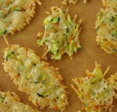 Parmesan Chips - use half grated/half shredded parmesan cheese. Parmesan Chips, Parmesan Cheese Crisps, Zucchini Crisps, Zucchini Cheese, Zucchini Parmesan, Low Carb Recipes, Cooking Recipes, Good Food, Yummy Food