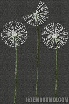 Creative machine embroidery designs: Dandelions embroidery design                                                                                                                                                                                 More
