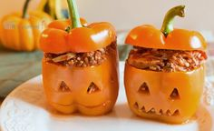 Jack O Lantern Stuffed Peppers from itsyummi.com