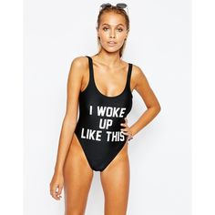 Private Party I Woke Up Like This Swimsuit (€105) ❤ liked on Polyvore featuring swimwear, one-piece swimsuits, black, black bathing suit, swim costume, black one piece swimsuit, bathing suit swimwear and print one piece swimsuit