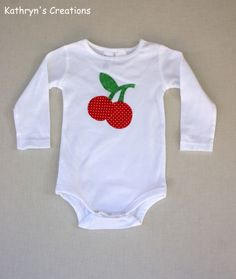 Girl's White Onesie with Red Cherry Applique - Size 1 - Long Sleeves | Kathryn's Creations | madeit.com.au