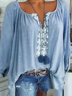 6561c1458f0553 Women Casual Long Sleeve Off Shoulder Lace Plus Size Blouses Tops – shecici
