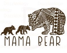 Dazzleology - Mama Bear and Cubs Design Intricate Aztec Mehndi Tribal Zen Doodle Tangle Adult Coloring Decoration Mandela Circle SVG DXF Silhouette Cricut