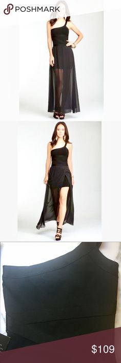 "🎪NEW ARRIVAL🎪Bebe🎪 Chiffon Skirt Bandage Dress With a sheer chiffon layer over a mini bodycon dress, this bebe one-shoulder stunner is sure to inspire envious glances. Features a thick bandage stretch that holds you in and a slit up the thigh. Try it with matching sandals. 80% viscose, 17% polyester, 3% spandex. Center back to hem: Dry clean. Made in USA. Model is 5'9"" and is wearing a US size S. Cheers! bebe Dresses Maxi"