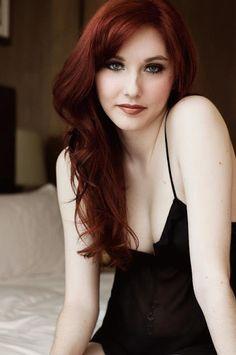 porcelain ivory skin emerald eyes velvet red hair