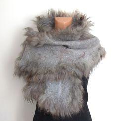 Felted scarf alpaca fur grey wrap by galafilc on Etsy