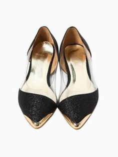 sparkle, plastic, black and gold flats <3