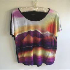 Kensie top  Beautiful top by Kensie with sunset & mountain scene. Super comfy and only worn once. 100% Viscose. Kensie Tops Blouses