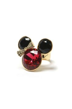 Black~Red Crystal Mickey Mouse Ring | Disney Inspired