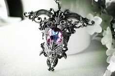 Earth spirit-- Swarovski light vitrail crystal aged silver Avant Garde necklace-goth-neo Victorian-fantasy-art nouveau