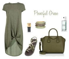 """Powerful Green Outfit"" by plaka-sandals on Polyvore featuring Boohoo, Givenchy, Chico's, Yves Saint Laurent, Giorgio Armani, GREEN, sandals, handmade and fashionset"
