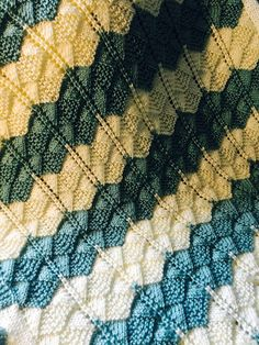 """Extremely soft baby blanket is striped in Aqua and Cream. Hand knit baby blanket is in a beautiful lace and fan pattern with a crochet border and extremly soft to the touch. Green color is perfect for either boy or girl. This is hand knit in Caron Simply Soft yarn. Baby blanket is a recieving size in 36"""" x 36"""" perfect for new borns or toddlers. Green and Cream stripes make this a very pretty blanket to see."""