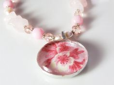Pink Peony Soldered Glass Necklace by princessdollhead on Etsy, $38.00