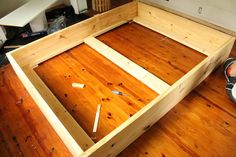 Want to build a frame like this around the box spring - no gap underneath to stash junk!!