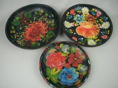 Mexican Painted Wooden Bowls, Batea Bowls, Hand Painted, Very Vintage, Group of 3, Bright Floral Colors on Black,Mexican Folk Art