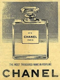 Vintage style Chanel advert. Love the structure of it and ink on aged paper.