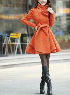 Orange Long Coat. Love the bow!