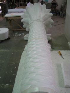 Modelo de poliestireno con forma de tronco y  copa de palmera. www.eliasalvarez.com
