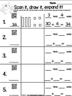 Fun math centers with QR Codes to get students practicing with base 10 blocks and expanding numbers!