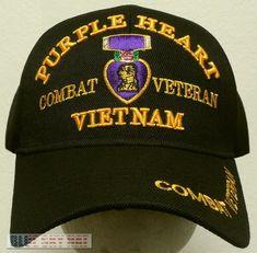 4707590ca46 New licensed purple heart medal combat vietnam viet nam war veteran vet cap  hat