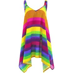 Plus Size Rainbow Striped Spaghetti Strap Top ($13) ❤ liked on Polyvore featuring tops, dresses, womens plus tops, women's plus size tops and plus size tops