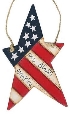 """God Bless America"" Star Flag Ornament - Americana Decor - Home Decor Americana Home Decor, Americana Crafts, Patriotic Crafts, July Crafts, Country Decor, Rustic Crafts, Primitive Crafts, Wood Crafts, Primitive Stars"