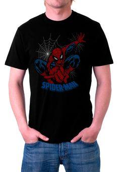 Camiseta Spiderman. Telaraña. Modelo 2  Chula camiseta del querido y popular super héroe Spiderman en una de sus poses habituales y que tanto le hemos visto tanto en el cine como en los populares Marvel Cómics.
