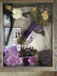 Shadow box for wedding mementos. I included my bouquet, hanger, invitation, garter, etc...