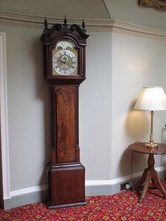 Mahogany cased half hour striking longcase clock.  8-day movement.  Channel Islands, mid-18th century.  Maker:  Edouard Renouf, Jersey.  Located on the Eisenhower Gallery, Culzean Castle.