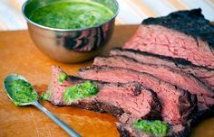 Grilled Steak with Chimmichurri 1 pound sirloin flap steak 1 cup packed arugula cup packed flat-leaf parsley teaspoon red pepper flakes cup olive oil 2 tablespoons white wine vinegar 2 cloves garlic teaspoon salt teaspoon black pepper Steak Recipes, Sauce Recipes, Paleo Recipes, Dinner Recipes, Cooking Recipes, Baked Cabbage Steaks, Steak With Chimichurri Sauce, 30 Min Meals, Whole 30 Recipes