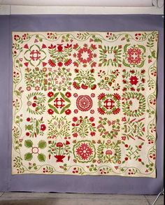 Mary Mannakee Quilt, Baltimore Album Quilt. (Maker not recorded). 1851. From DAR Museum, Permanent Collection. Published in The Quilt Index
