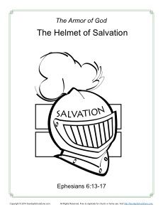 Helmet of Salvation Coloring Page - Armor of God for Kids and Bible Lesson to go with it! Kids Sunday School Lessons, Sunday School Projects, Bible Study For Kids, Bible Lessons For Kids, Kids Bible, Preschool Bible, Preschool Ideas, Armor Of God Lesson, Free Bible Coloring Pages