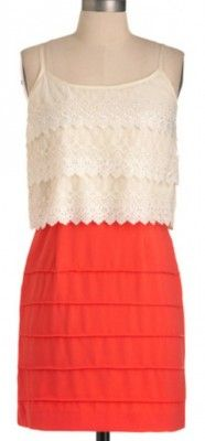 completely in love.. ivory lace & coral dress<3