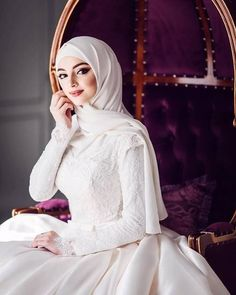 bride, white, and hijab image