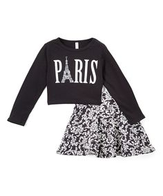 Love this Black & White 'Paris' Top & Damask Skirt - Toddler & Girls by American Kids on #zulily! #zulilyfinds