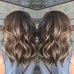 Ash Brown Balayage Wavy Hair