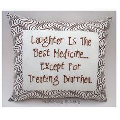 Funny Cross Stitch Pillow, Brown Pillow, Laughter Quote. $20.00, via Etsy.