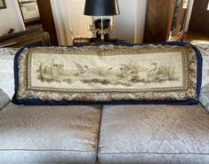 """Antique French 65"""" x 27"""" Tapestry, Aubusson or Beauvais, Dog and Waterfowl, Opulent Border, c.1770-1830"""