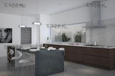 Muebles tono Coinguë y alacenas abiertas, haciendo un contraste limpio con cubierta de cuarzo blanco y alacenas en cristal blanco. Cuarzo en a nivel de mesa en Gris.