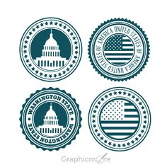 USA Badge Set Design Free Vector File