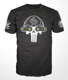 Nothing but badassery coming fromDUMP BOX! This is the first official release of their'Lights Out Punisher' Skullcrusers NVG Operator T-Shirt. This t-shirt fe