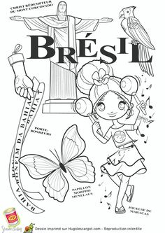 Elegant Brazil Coloring Pages Colouring Pages, Coloring Sheets, Coloring Books, Little Passports, World Thinking Day, Kids Around The World, World Geography, World Crafts, World Cultures