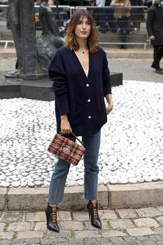 Actress Jeanne Damas arrives at the Miu Miu show as part of the Paris. Actress Jeanne Damas arrives at the Miu Miu show as part of the Paris. Fashion Basics, Fashion Mode, Look Fashion, Girl Fashion, Autumn Fashion, Fashion Outfits, Jeanne Damas, French Girl Style, French Chic