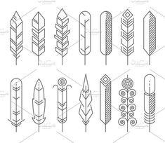 Hipster line feathers vector set by Microvector on @creativemarket
