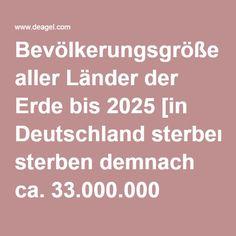 Bevölkerungsgröße aller Länder der Erde bis 2025 [in Deutschland sterben demnach ca. 33.000.000 Menschen]
