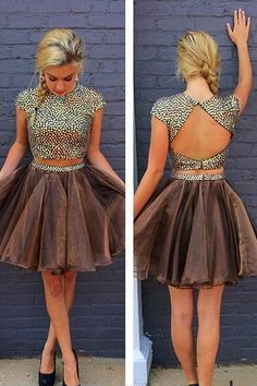 Two Pieces Chocolate Homecoming Dress,Ball Gown Jewel Backless Lace Short Prom Dress HCD37